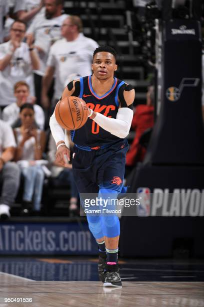 Russell Westbrook of the Oklahoma City Thunder handles the ball against the Utah Jazz in Game Four of Round One of the 2018 NBA Playoffs on April 23...