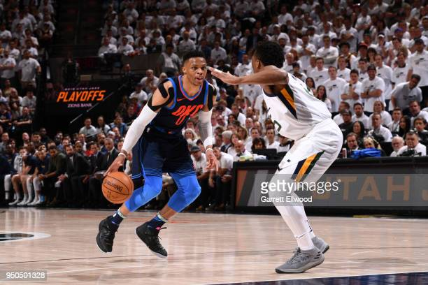 Russell Westbrook of the Oklahoma City Thunder handles the ball against the Golden State Warriors in Game Four of Round One of the 2018 NBA Playoffs...