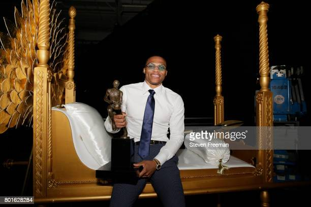 Russell Westbrook of the Oklahoma City Thunder holds the Most Valuable Player award during the 2017 NBA Awards Show on June 26 2017 at Basketball...