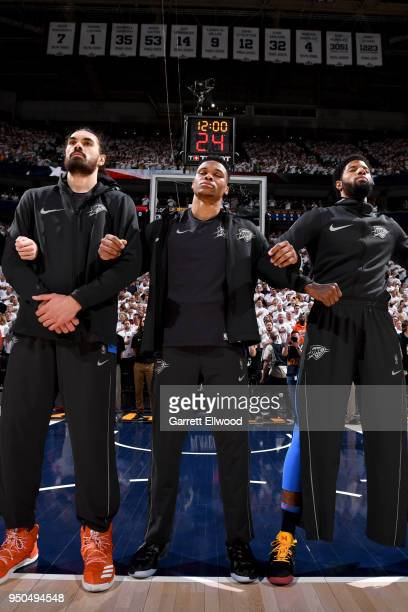 Russell Westbrook of the Oklahoma City Thunder honors the National Anthem before the game against the Utah Jazz in Game Four of Round One of the 2018...