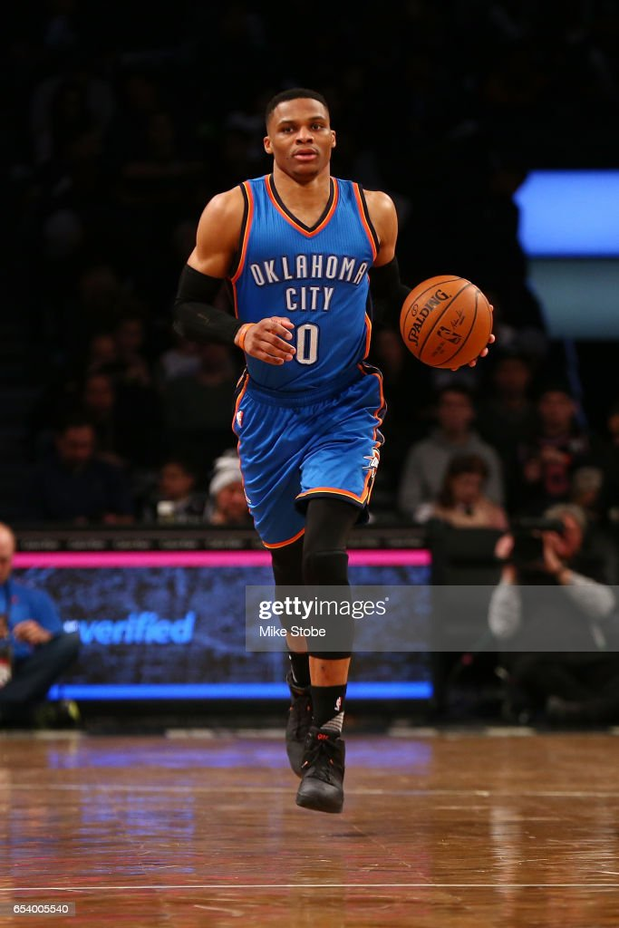 Russell Westbrook #0 of the Oklahoma City Thunder in action against the Brooklyn Nets at Barclays Center on March 14, 2017 in New York City.