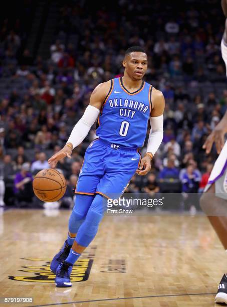 Russell Westbrook of the Oklahoma City Thunder in action against the Sacramento Kings at Golden 1 Center on November 7 2017 in Sacramento California...