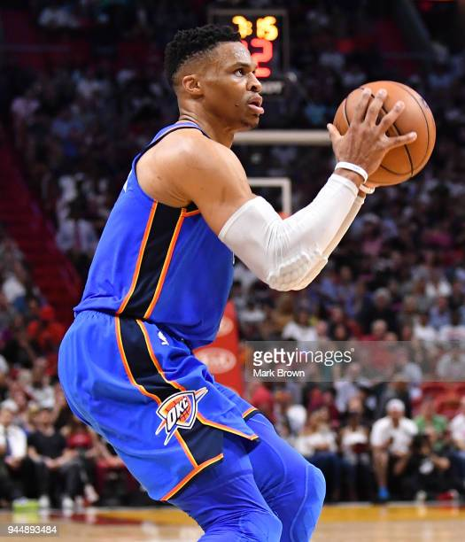 Russell Westbrook of the Oklahoma City Thunder in action looking to score during the game against the Miami Heat at American Airlines Arena on April...