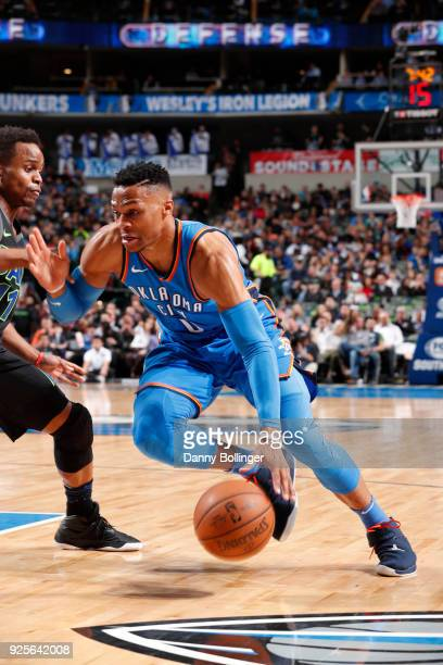 Russell Westbrook of the Oklahoma City Thunder jocks for a position during the game against the Dallas Mavericks on February 28 2018 at the American...
