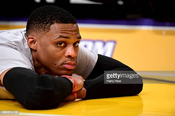 Russell Westbrook of the Oklahoma City Thunder lays on the court before the game against the Los Angeles Lakers at Staples Center on November 22 2016...