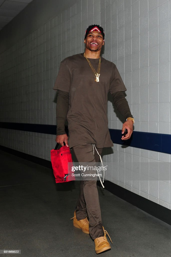 Russell Westbrook #0 of the Oklahoma City Thunder leaves the arena after game against the Atlanta Hawks on March 13, 2018 at Philips Arena in Atlanta, Georgia.