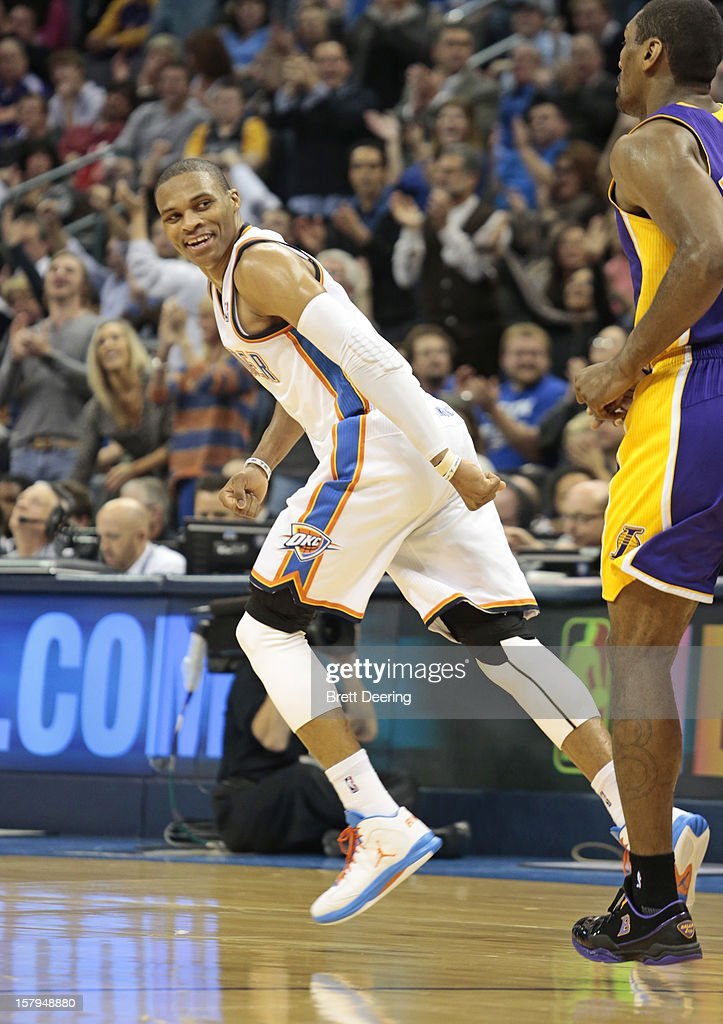 Russell Westbrook #0 of the Oklahoma City Thunder looks back after a score against the Los Angeles Lakers December 7, 2012 at Chesapeake Energy Arena in Oklahoma City, Oklahoma. Oklahoma City defeated Los Angeles 114-108.