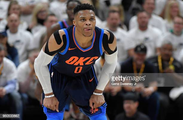 Russell Westbrook of the Oklahoma City Thunder looks down court during Game Four of Round One of the 2018 NBA Playoffs against the Utah Jazz at...