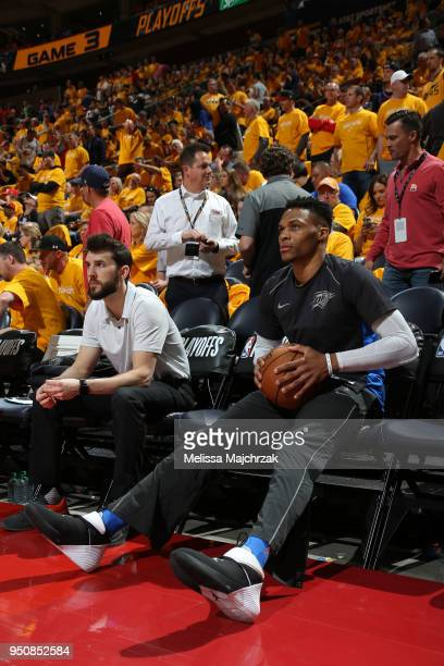 Russell Westbrook of the Oklahoma City Thunder looks on against the Utah Jazz in Game Three of Round One of the 2018 NBA Playoffs on April 21 2018 at...