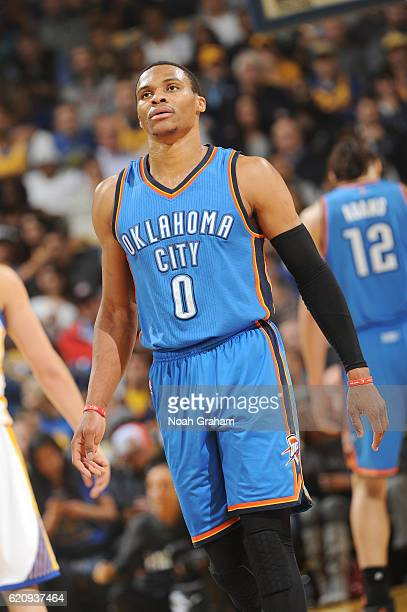 Russell Westbrook of the Oklahoma City Thunder looks on during a game against the Golden State Warriors on November 3 2016 at ORACLE Arena in Oakland...