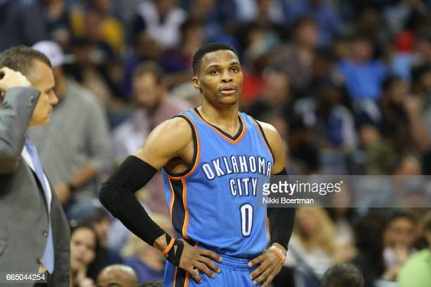 Russell Westbrook of the Oklahoma City Thunder looks on during a game against the Memphis Grizzlies on April 5 2017 at FedExForum in Memphis...