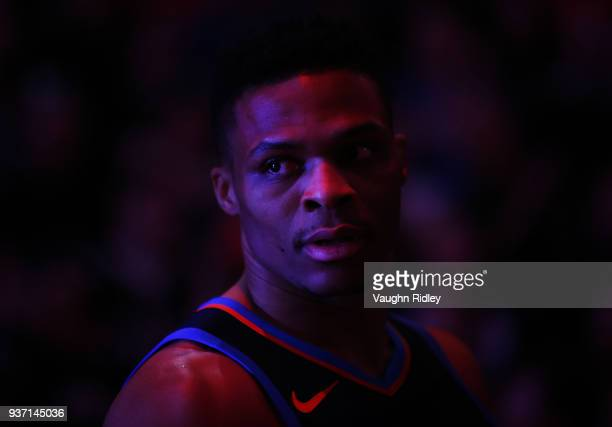 Russell Westbrook of the Oklahoma City Thunder looks on during player introductions prior to the first half of an NBA game against the Toronto...