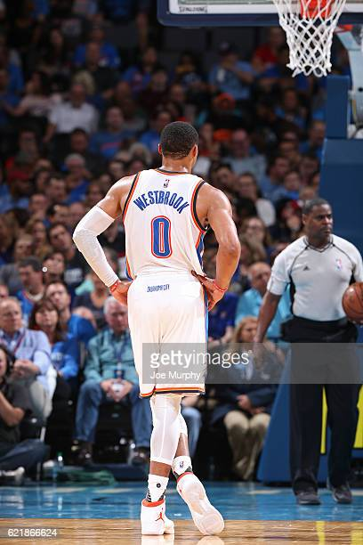Russell Westbrook of the Oklahoma City Thunder looks on during the game against the Phoenix Suns on October 28 2016 at the Chesapeake Energy Arena in...
