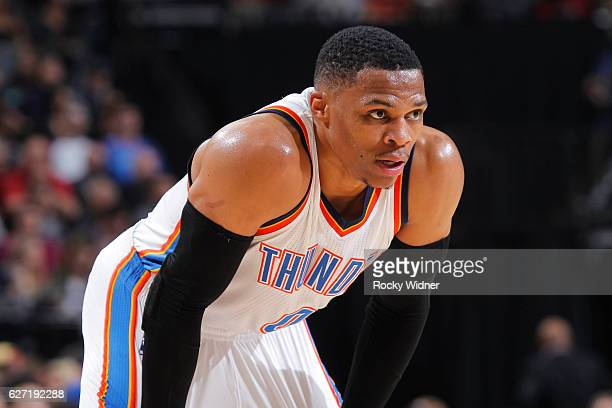 Russell Westbrook of the Oklahoma City Thunder looks on during the game against the Sacramento Kings on November 23, 2016 at Golden 1 Center in...