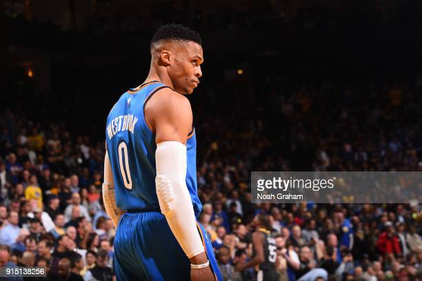 Russell Westbrook of the Oklahoma City Thunder looks on during the game against the Golden State Warriors on February 6 2018 at ORACLE Arena in...
