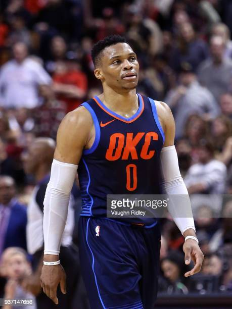 Russell Westbrook of the Oklahoma City Thunder looks on during the second half of an NBA game against the Toronto Raptors at Air Canada Centre on...