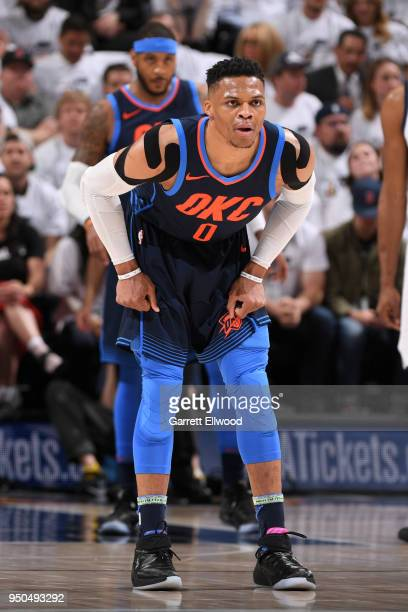Russell Westbrook of the Oklahoma City Thunder looks on during the game against the Utah Jazz in Game Four of Round One of the 2018 NBA Playoffs on...