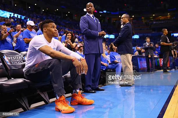 Russell Westbrook of the Oklahoma City Thunder looks on prior to game six of the Western Conference Finals against the Golden State Warriors during...
