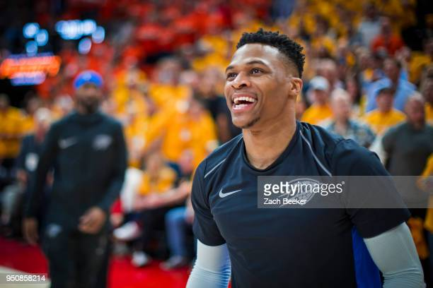 Russell Westbrook of the Oklahoma City Thunder looks on prior to Game Three of Round One of the 2018 NBA playoffs against the Utah Jazz on April 21...