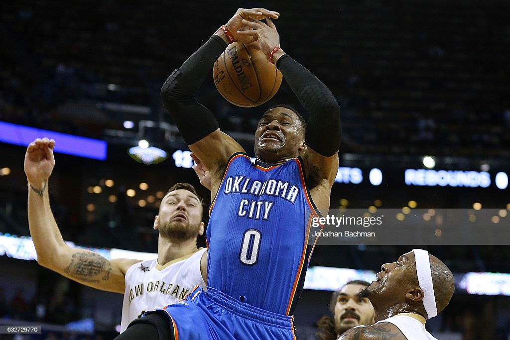 Russell Westbrook #0 of the Oklahoma City Thunder loses the ball as he drives to the basket during the second half of a game against the New Orleans Pelicans at the Smoothie King Center on January 25, 2017 in New Orleans, Louisiana.