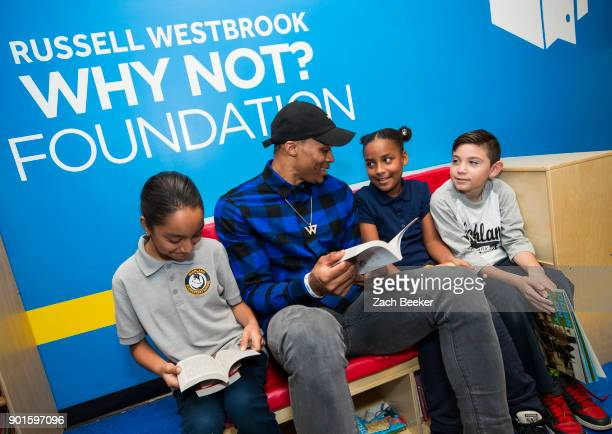 Russell Westbrook of the Oklahoma City Thunder meets with fifth graders from Highland Elementary to celebrate the opening of the 20th Russell's...