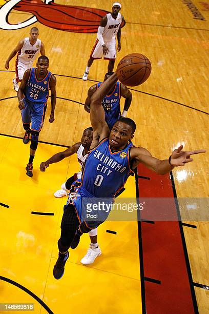 Russell Westbrook of the Oklahoma City Thunder misses a dunk attempt in the first half against Miami Heat in Game Four of the 2012 NBA Finals on June...