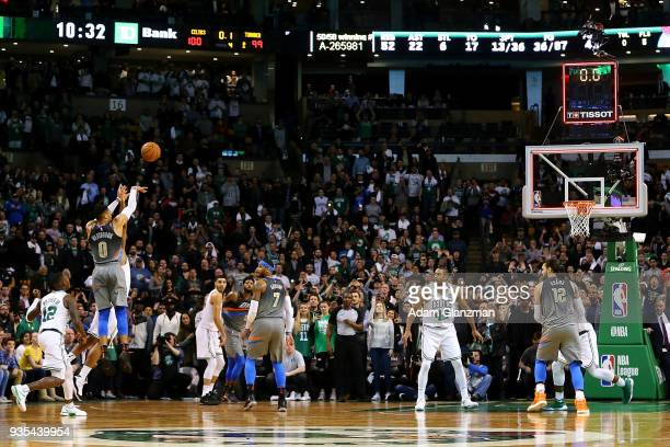 Russell Westbrook of the Oklahoma City Thunder misses a shot as the clock expires to end a game against the Boston Celtics at TD Garden on March 20...