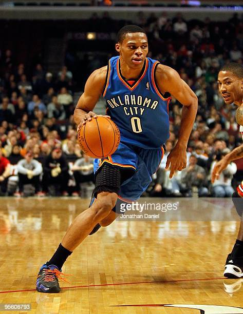 Russell Westbrook of the Oklahoma City Thunder moves the ball against the Chicago Bulls at the United Center on January 4 2010 in Chicago Illinois...