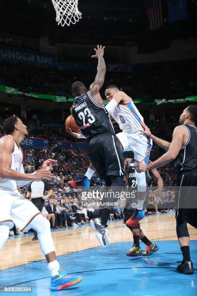 Russell Westbrook of the Oklahoma City Thunder passes the ball against the Melbourne United during the preseason game on October 8 2017 at Chesapeake...