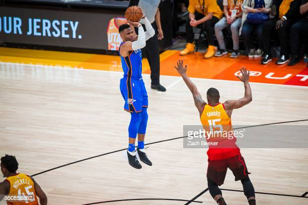 Russell Westbrook of the Oklahoma City Thunder passes the ball against the Utah Jazz Game Three of Round One of the 2018 NBA playoffs on April 21...