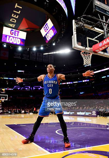 Russell Westbrook of the Oklahoma City Thunder plays an inbound pass during the game against the Los Angeles Lakers at Staples Center on November 22...