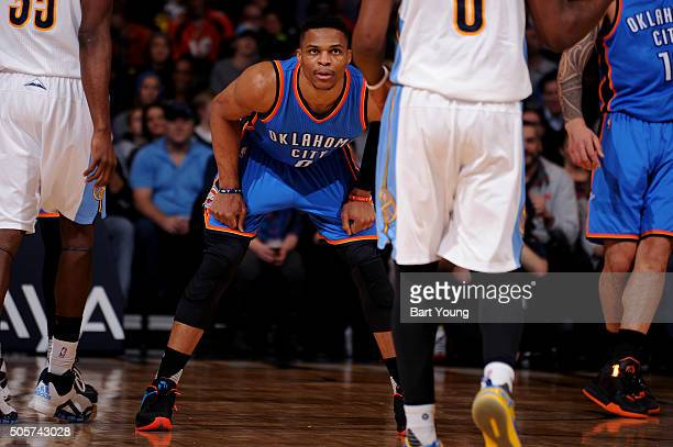 Russell Westbrook of the Oklahoma City Thunder plays defense against the Denver Nuggets on January 19 2016 at the Pepsi Center in Denver Colorado...