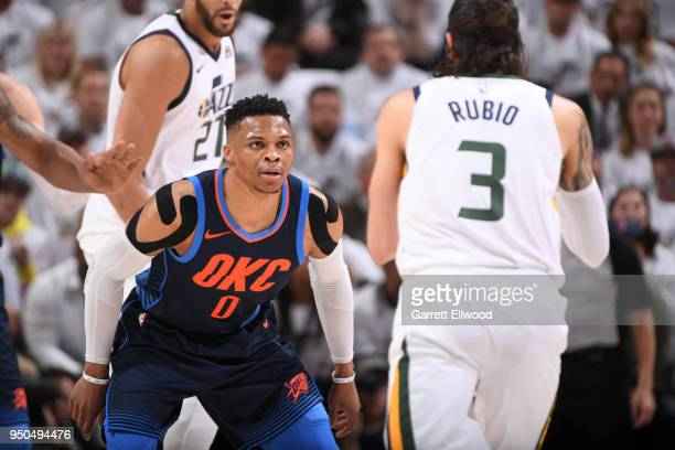 Russell Westbrook of the Oklahoma City Thunder plays defense against the Utah Jazz in Game Four of Round One of the 2018 NBA Playoffs on April 23...