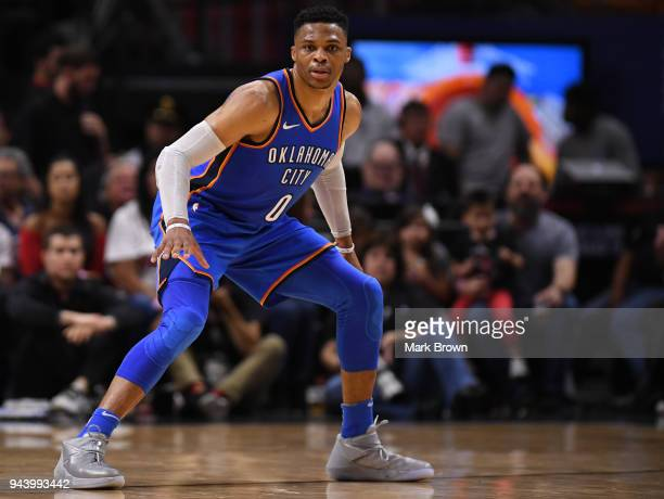 Russell Westbrook of the Oklahoma City Thunder plays defense during the game against Miami Heat at American Airlines Arena on April 9 2018 in Miami...