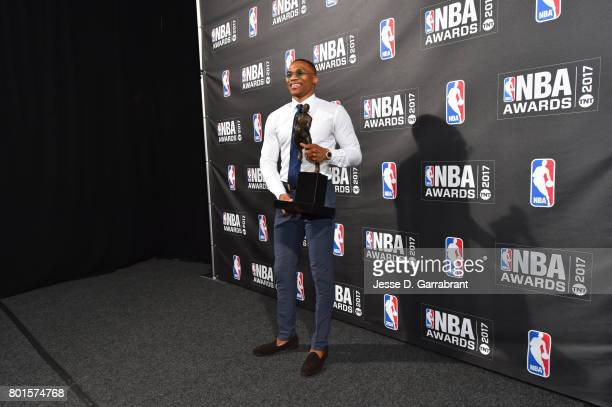 Russell Westbrook of the Oklahoma City Thunder poses for a photo after winning the Most Valuable Player of the Year award during the 2017 NBA Awards...