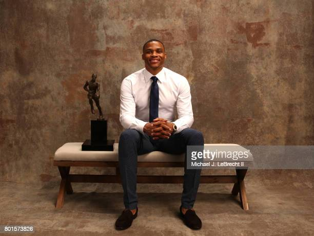 Russell Westbrook of the Oklahoma City Thunder poses for a portrait after receiving the Kia NBA Most Valuable Player Award at the NBA Awards Show on...