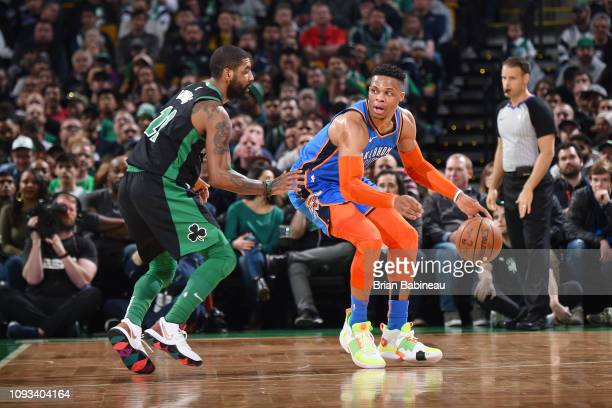 Russell Westbrook of the Oklahoma City Thunder posts up during the game against Kyrie Irving of the Boston Celtics on February 3 2019 at the TD...