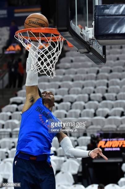 Russell Westbrook of the Oklahoma City Thunder practices a layup prior to Game Four of Round One of the 2018 NBA Playoffs against the Utah Jazz at...