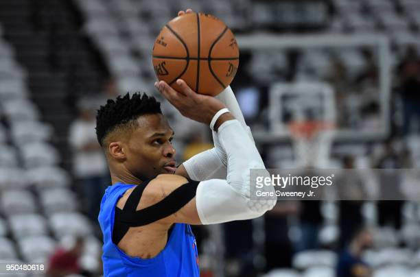 Russell Westbrook of the Oklahoma City Thunder practices shooting prior to Game Four of Round One of the 2018 NBA Playoffs against the Utah Jazz at...