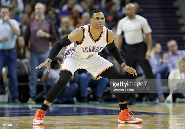 Russell Westbrook of the Oklahoma City Thunder prepares to defend against the Charlotte Hornets during their game at Spectrum Center on January 4...
