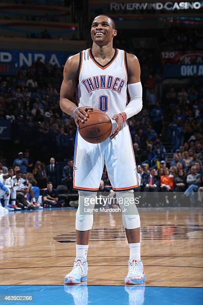 Russell Westbrook of the Oklahoma City Thunder prepares to shoot a free throw against the Dallas Mavericks on February 19 2015 at the Chesapeake...