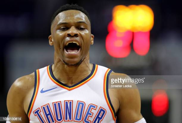 Russell Westbrook of the Oklahoma City Thunder reacts after a dunk against the Charlotte Hornets during their game at Spectrum Center on November 1...