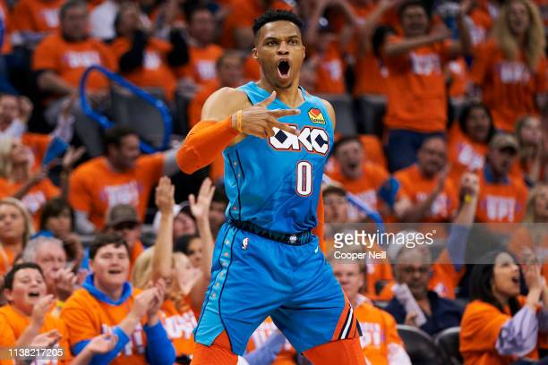 Russell Westbrook of the Oklahoma City Thunder reacts after a made basket against the Portland Trail Blazers during the second half of game three of...