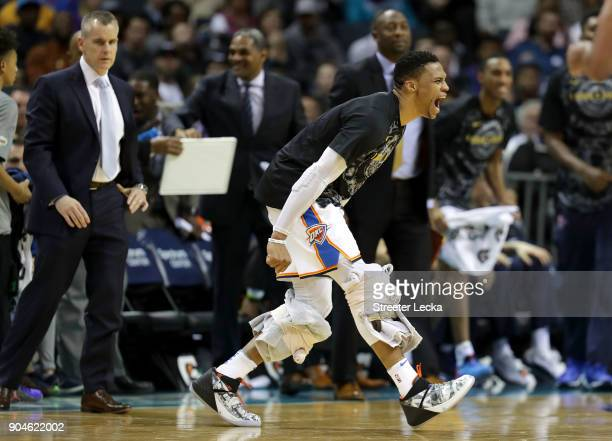 Russell Westbrook of the Oklahoma City Thunder reacts after a play against the Charlotte Hornets during their game at Spectrum Center on January 13...