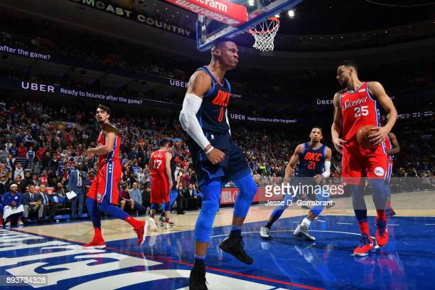 Russell Westbrook of the Oklahoma City Thunder reacts after dunking the ball against the Philadelphia 76ers at Wells Fargo Center on December 15 2017...