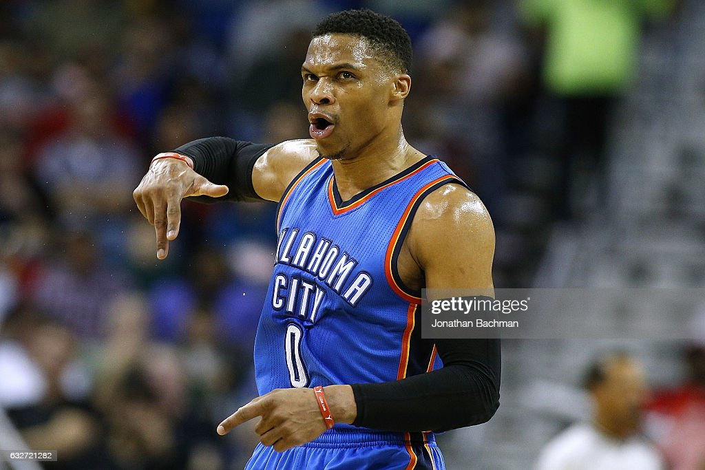 Russell Westbrook #0 of the Oklahoma City Thunder reacts after scoring during the first half of a game against the New Orleans Pelicans at the Smoothie King Center on January 25, 2017 in New Orleans, Louisiana.