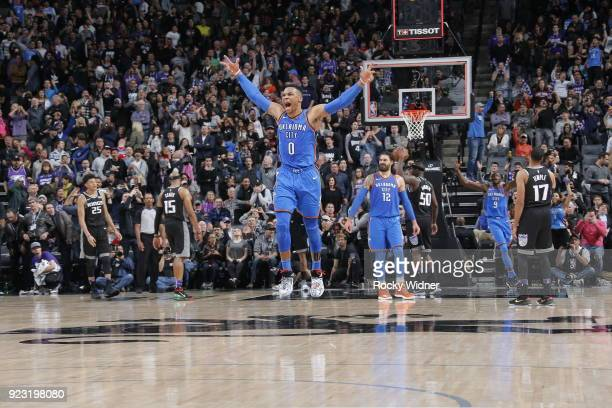 Russell Westbrook of the Oklahoma City Thunder reacts after shooting the final shot to win game against the Sacramento Kings on February 22 2018 at...