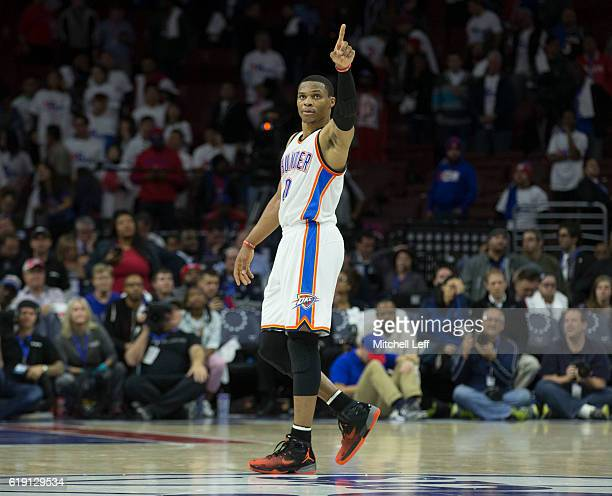 Russell Westbrook of the Oklahoma City Thunder reacts against the Philadelphia 76ers at Wells Fargo Center on October 26 2016 in Philadelphia...