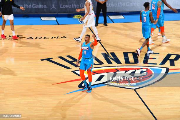 Russell Westbrook of the Oklahoma City Thunder reacts during a game against the Atlanta Hawks on November 30 2018 at Chesapeake Energy Arena in...