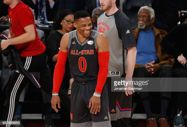 Russell Westbrook of the Oklahoma City Thunder reacts during the 2017 NBA AllStar Game at Smoothie King Center on February 19 2017 in New Orleans...